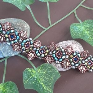 Handmade bracelet green and copper